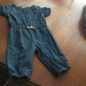 Baby girl one piece jean outfit